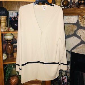 Talbots Dressy Tan Cardigan Jacket with Black Trim